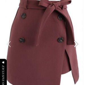 Urban double button flap skirt in berry